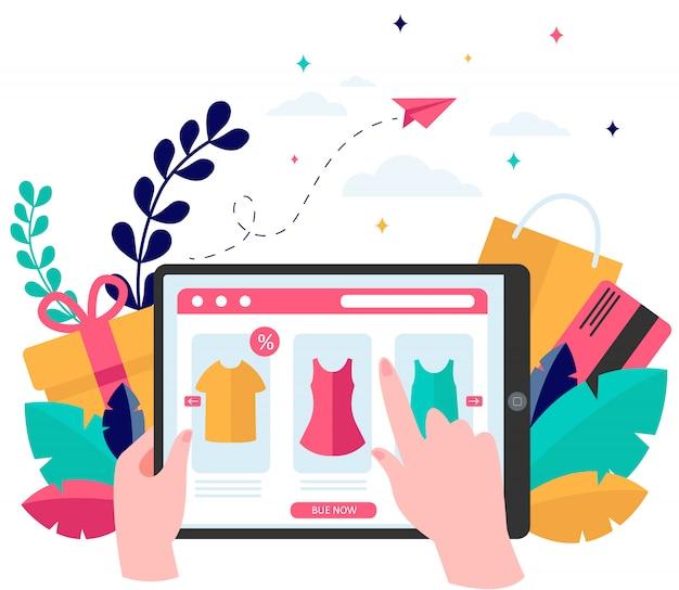 Страница интернет-магазина на планшете Бесплатные векторы