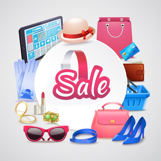 Online shop round composition Free Vector