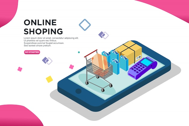 Online shoping isometric design, vector Premium Vector