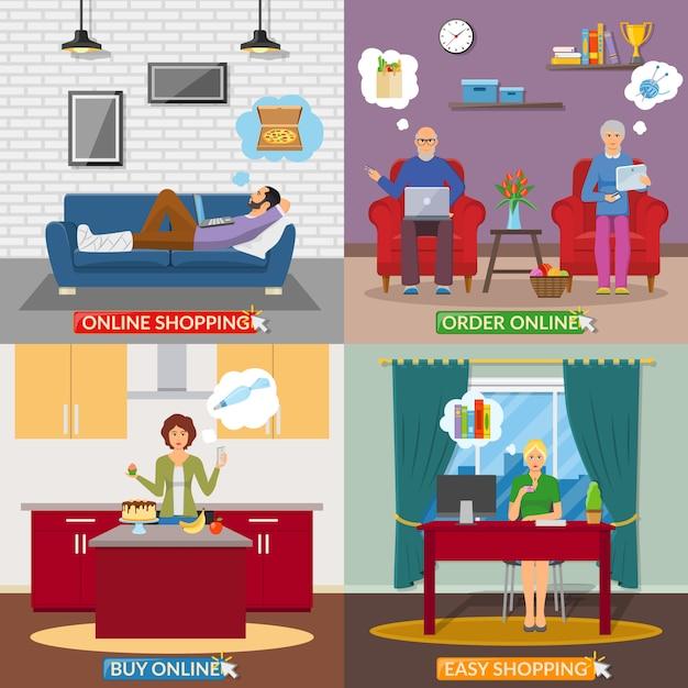 Online shopping 2x2 flat design concept Free Vector