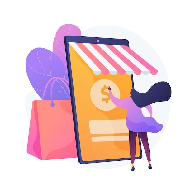 온라인 쇼핑 추상적 인 개념 그림 무료 벡터