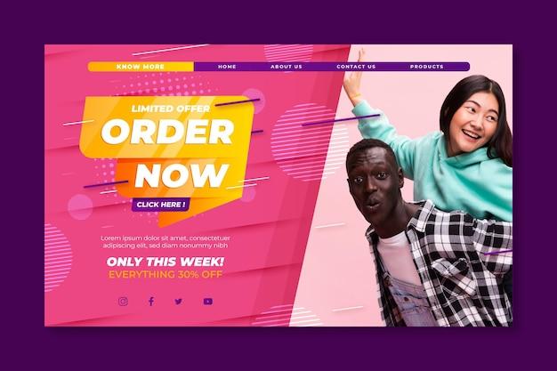 オンラインショッピングと販売のランディングページテンプレート 無料ベクター