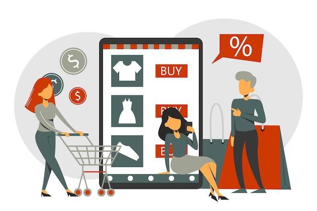 携帯電話のオンラインショッピングアプリ、eコマース。人々は店のページで商品を購入します。カートが分離されたキャラクター。スマートフォン技術。 Premiumベクター