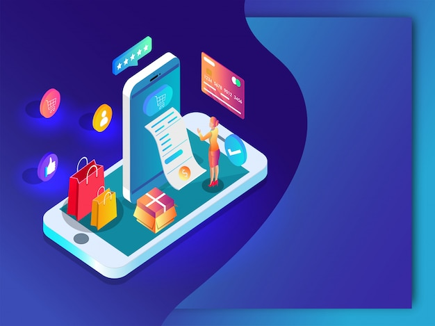 Online shopping app in smartphone with payment receipt Premium Vector