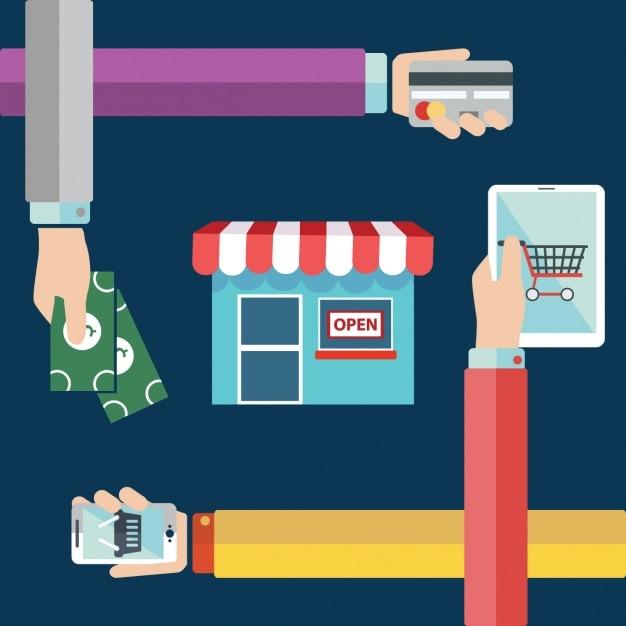 Online shopping background design vector free download for Design shop online