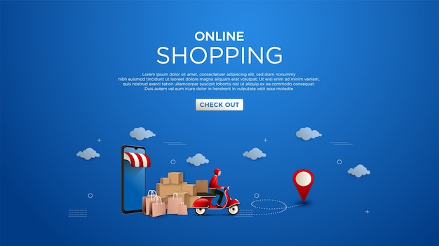 Online shopping background digital marketing concept of delivery of goods Premium Vector