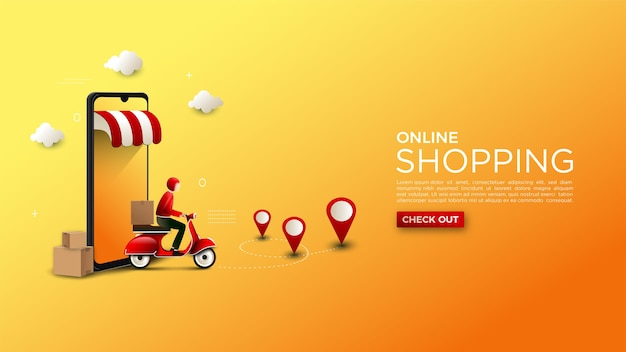 Online shopping background illustration of delivery of goods on a motorcycle Premium Vector
