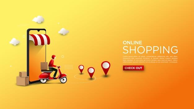 Интернет-магазин фоновой иллюстрации доставки товаров на мотоцикле Premium векторы