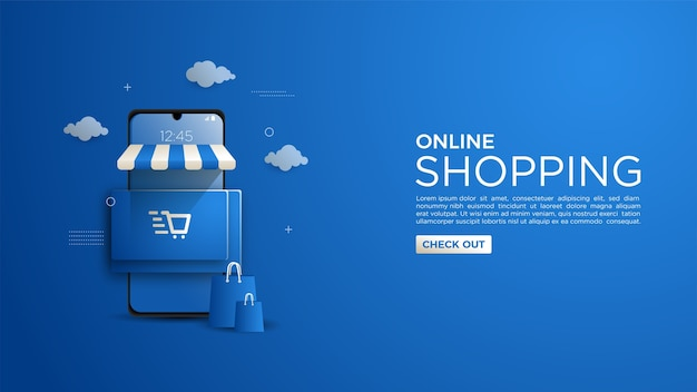 Online shopping background for website or mobile app Premium Vector