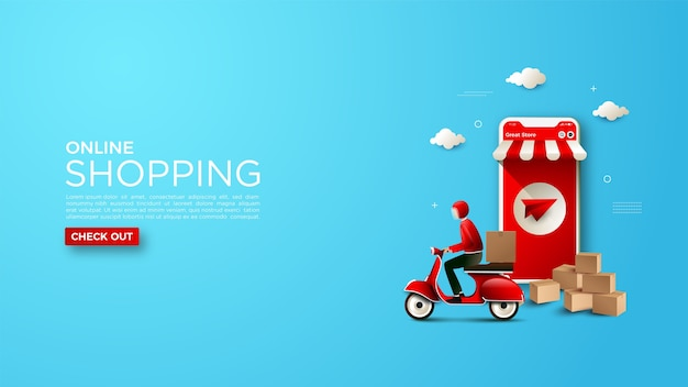 Online shopping background with a delivery courier illustration Premium Vector
