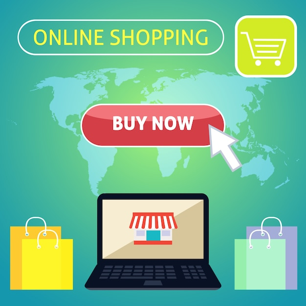 Online shopping background with flat elements Vector ...