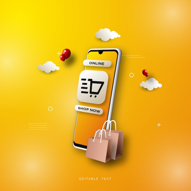 Online shopping background, with a  smartphone on a yellow background. Premium Vector