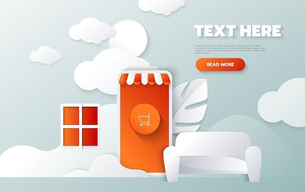 Banner dello shopping online. concetto di carta tagliata e stile artigianale Vettore gratuito