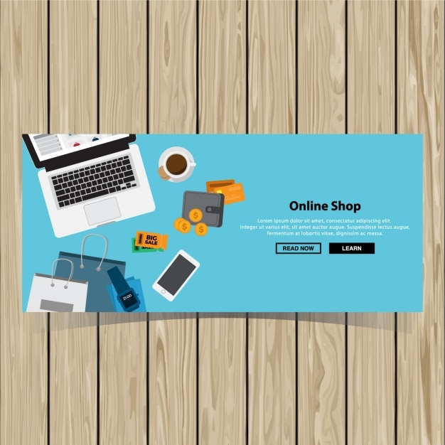Online shopping banner design vector free download for Design online shop