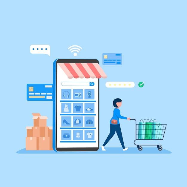 온라인 쇼핑 배너, 모바일 앱 템플릿, 개념 평면 디자인 무료 벡터