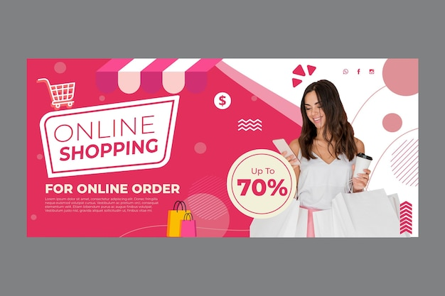 Online shopping banner template Free Vector