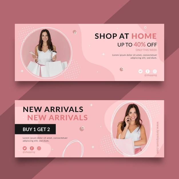 Online shopping banners designs Free Vector