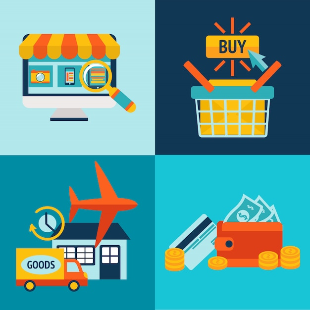 Online shopping business elements set Free Vector