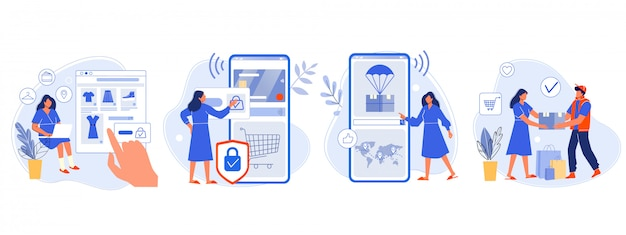 Online shopping. buyer picked goods, paid for mobile banking, tracking parcel package and customer delivery. online order flat illustration. purchase process with four steps. shopper, e store Premium Vector