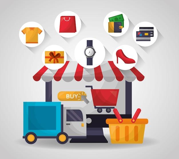 Online shopping card Premium Vector