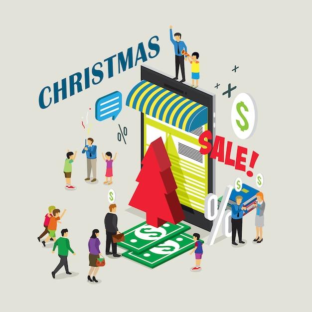 Online shopping christmas sale Premium Vector