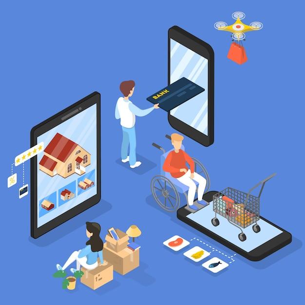Концепция покупок в интернете. покупка товаров и оплата онлайн на сайтах с помощью устройств. современные технологии, интернет и электронная коммерция. изометрическая иллюстрация Premium векторы