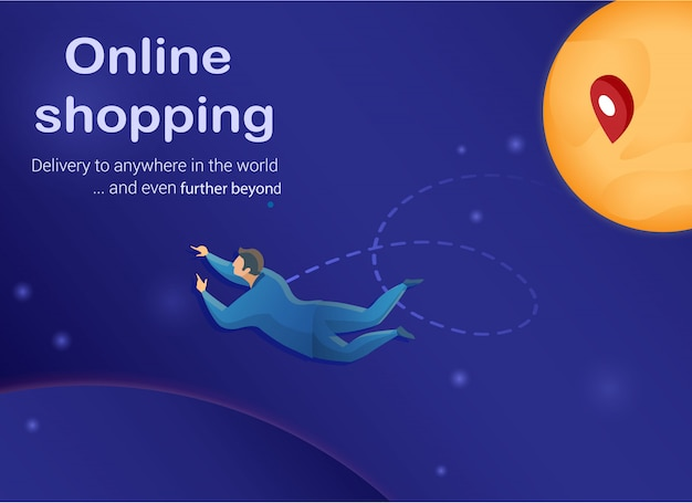 Online shopping concept, customen in outer space. Premium Vector