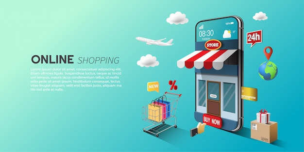 Online shopping concept, digital marketing on website and mobile application. Premium Vector
