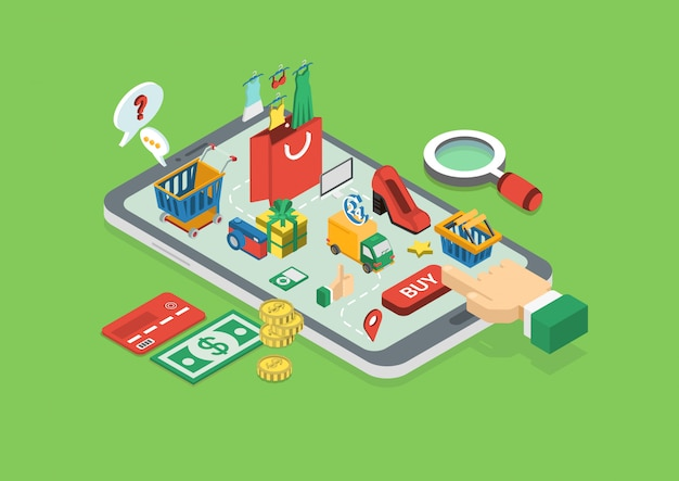 Online shopping concept. finger touch buy button on tablet isometric . Free Vector