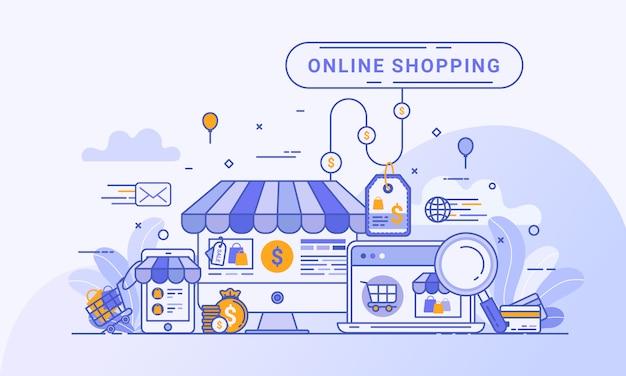 웹 방문 페이지, 웹 사이트 및 모바일 응용 프로그램의 디지털 마케팅에 대한 온라인 쇼핑 개념. 무료 벡터