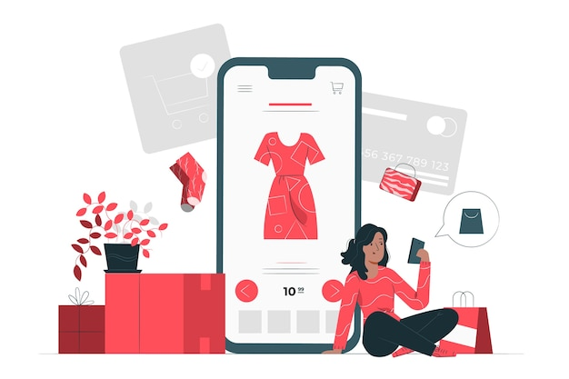 Online shopping concept illustration Free Vector