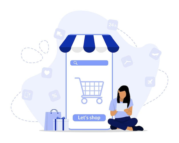 Online shopping concept illustration Premium Vector