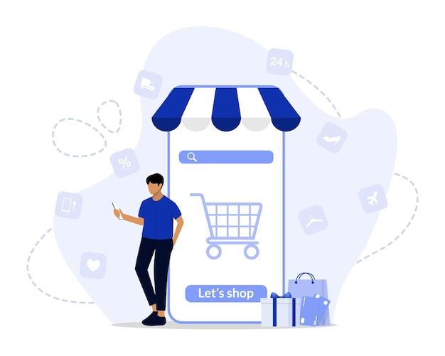 Online shopping concept illustration Premium Vector