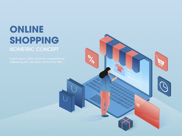 Online shopping concept, isometric illustration. Premium Vector