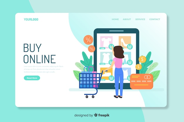 Online shopping concept landing page Free Vector
