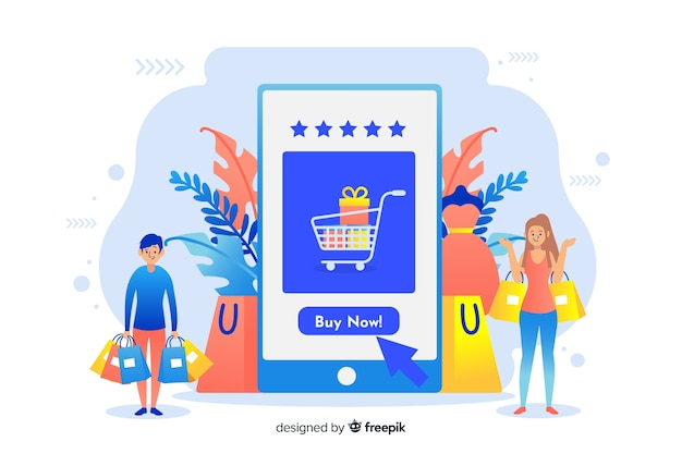 Online shopping concept for landing page Free Vector