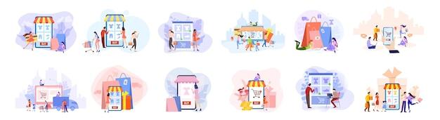 EPS -  bộ ảnh minh họa mua sắm trực tuyến đa dạng