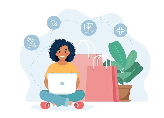 흑인 여성 캐릭터와 온라인 쇼핑 개념 프리미엄 벡터