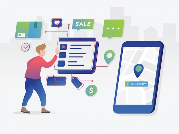 Online shopping concept with character Premium Vector
