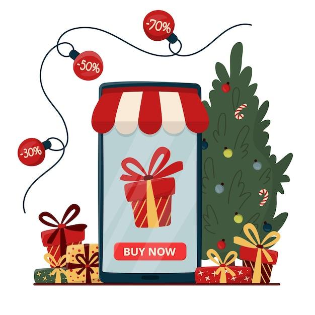 크리스마스 트리와 선물 상자와 온라인 쇼핑 개념 프리미엄 벡터