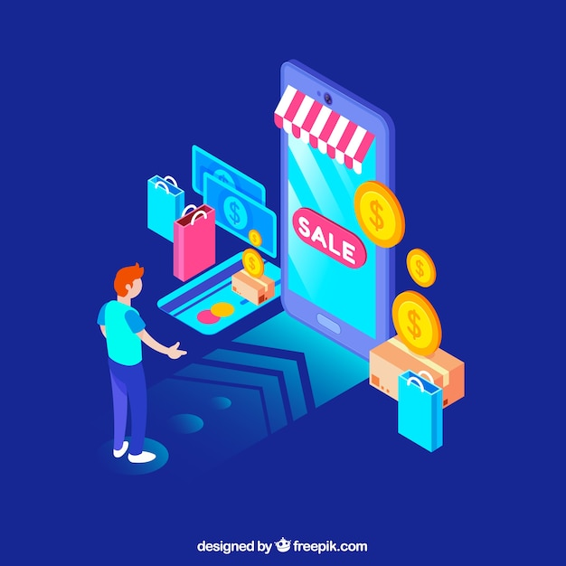Online shopping concept with flat design Free Vector