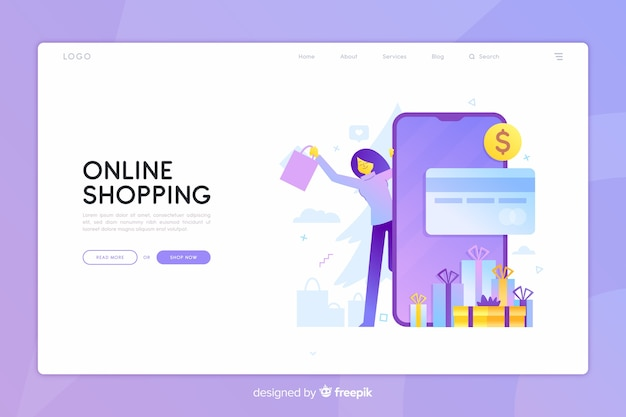 Online shopping concept with illustration Free Vector