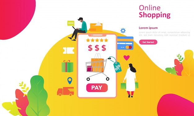 Online shopping concept with people character for web landing page Premium Vector
