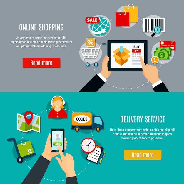 Online shopping and delivery banners Free Vector