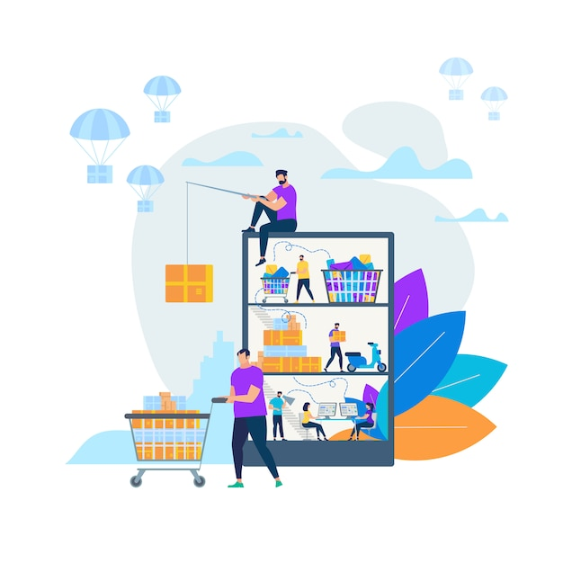 Online shopping and delivery vector illustration Premium Vector