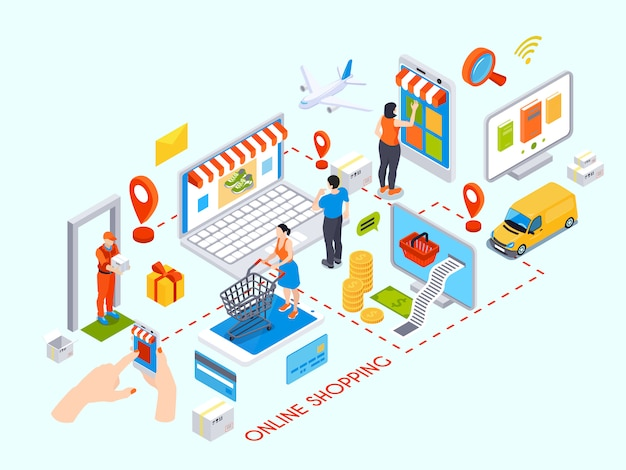 Online shopping design concept with purchase items credit cards delivery courier isometric icons Free Vector
