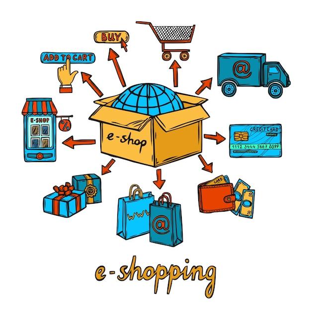 Online shopping design Premium Vector