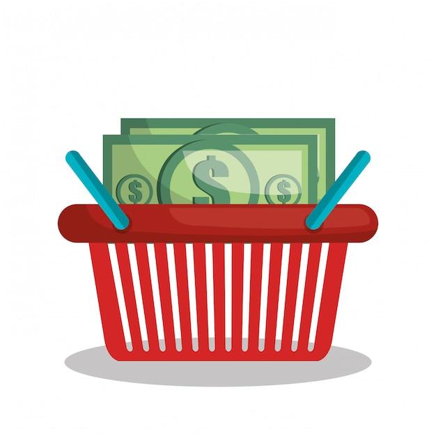 Online shopping e-commerce basket isolated Premium Vector