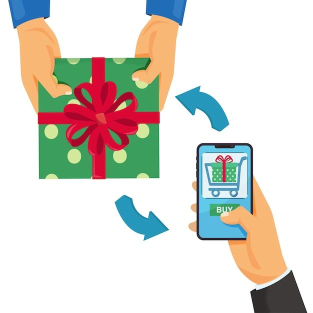 Online shopping e-commerce concept mobile shopping Premium Vector