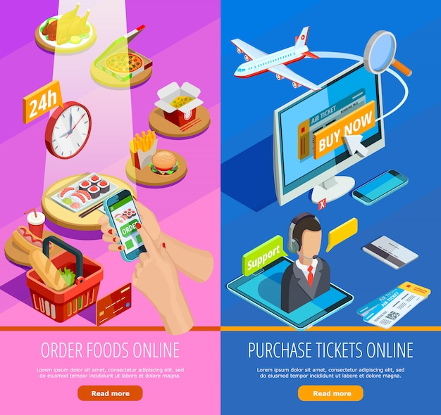 Online shopping e-commerce isometric banners Free Vector